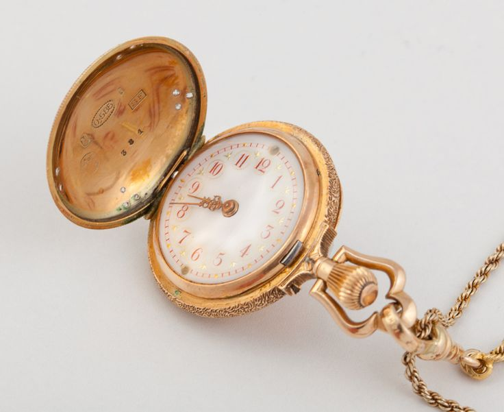 Victorian Lady's Yellow Gold, Enamel and Diamond Hunting Case Pendant Watch