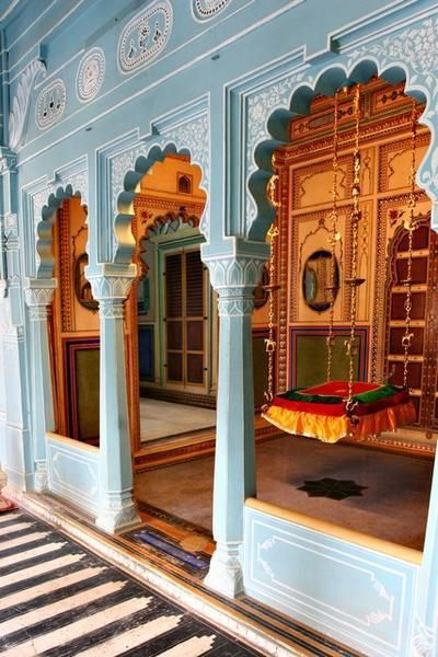 Udaipur Palace, Udaipur, India love this sky blue with richer colors inside, and the swing. I need one
