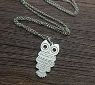 Owl Name Necklace - Sterling Silver