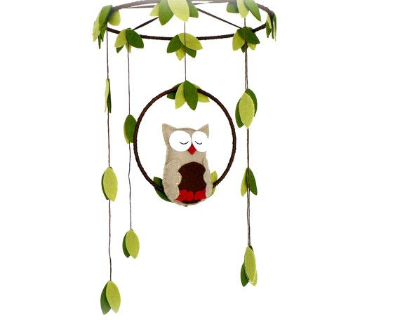 Owl mobile - woodland - Nursery baby mobile - You pick your colors - Felt green, brown and red owl - Nursery decor on Etsy, £39.70