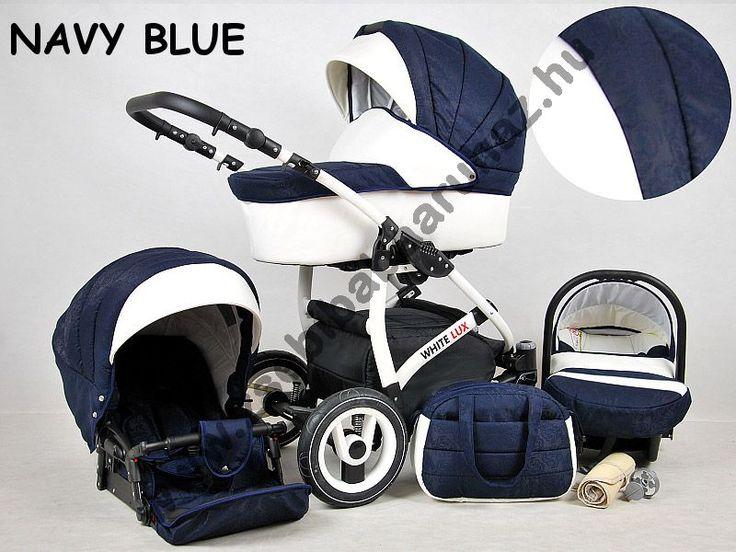 White Lux 3in1 babakocsi - Navy Blue, White Lux 3in1 multifunkciós babakocsi mózeskosárral, sportrésszel, bébihordozóval. Divatos babakocsi fehér vázzal és fehér textilbőr betétekkel., Zsebi Babaáruház