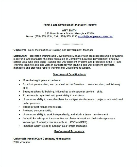 Training and Development Manager resume template , Professional