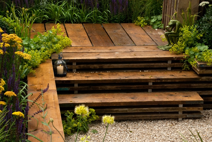 Deck built from scaffolding boards