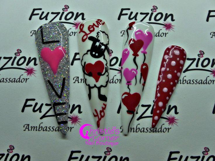 "#Valentines #nailartideas #soocute Products used: Fuzion UV Gel ""Trim the tree"", ""Neonz Pink"", ""Pastelz Pink"", Paintz ""Black 101"", ""White 101"", ""Red 101"", ""Pink 101"" Visit http://nailfuzion.com/distributors/  for a list of distributors. #christiemccrea_fuzionambassador #fuzionfanatic #fuzionobsessed #funwithfuzion #fuzionuvgel #fuzionnails #wherebeautymeetstechnology"