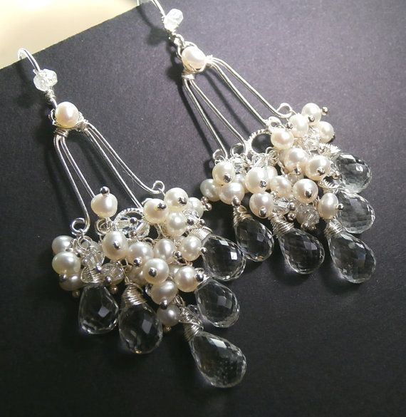 Bridal Jewelry Chandelier Wedding Earrings Pearl Crystal Wire Wrapped Sterling Silver Handmade Chandelier Earrings Luxury Bridal Earrings