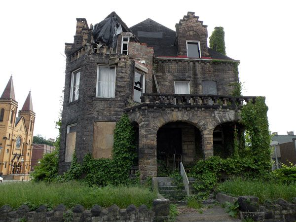 "The Dr. H. W. Hitzrot House in McKeesport, Penna. It is such a shame to ride past this once magnificent mansion that was built in 1892. It was called ""one of the finest homes in Pennsylvania"" and says that construction cost $50,000 (more than $1.1 million today). The Fraternal Order of Eagles bought the home in 1911 and used it as a meeting hall. (per The Tube City Almanac - tubecityonline.com)"