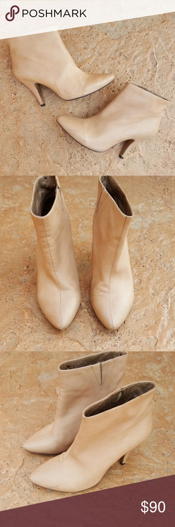 Jeffrey Campbell Ibiza Free People Booties Nude 8 HOST PICK STATEMENT STYLE 9-13-17! THANK YOU! Gorgeous nude blush leather booties from Jeffrey Campbell Ibiza Last collab with Free People. Size 8. Style name is Frankie. Super, super soft leather uppers, leather lining on footbeds. Some surface scuffs. Left bootie has a small nick at heel, see photo. Jeffrey Campbell Shoes Ankle Boots & Booties
