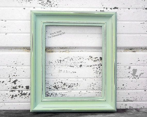 pale green 11x14 picture frame light green frame by thedistressinggirl