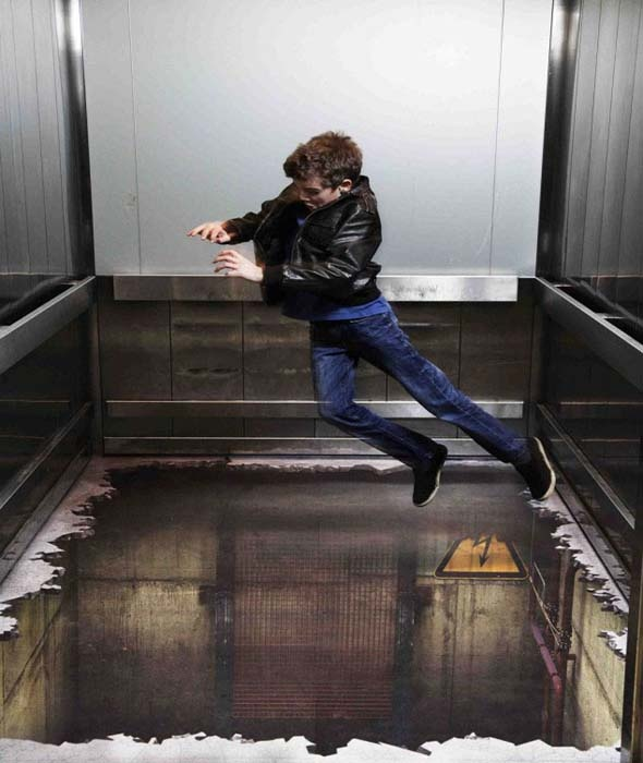 Elevator Illusion 3d Street Art On An Elevator Floor