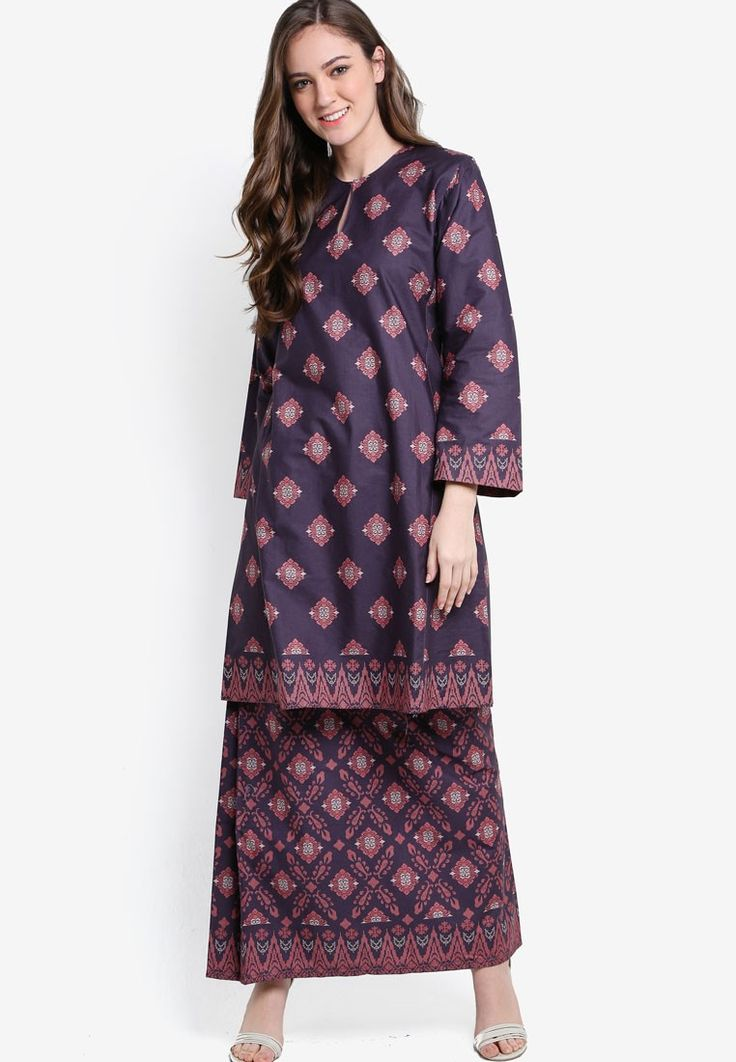 Shamim English Cotton Kurung with Songket Print_1