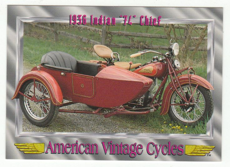 """American Vintage Cycles Series I # 54 1936 Indian """"74"""" Chief - Champ 1992"""