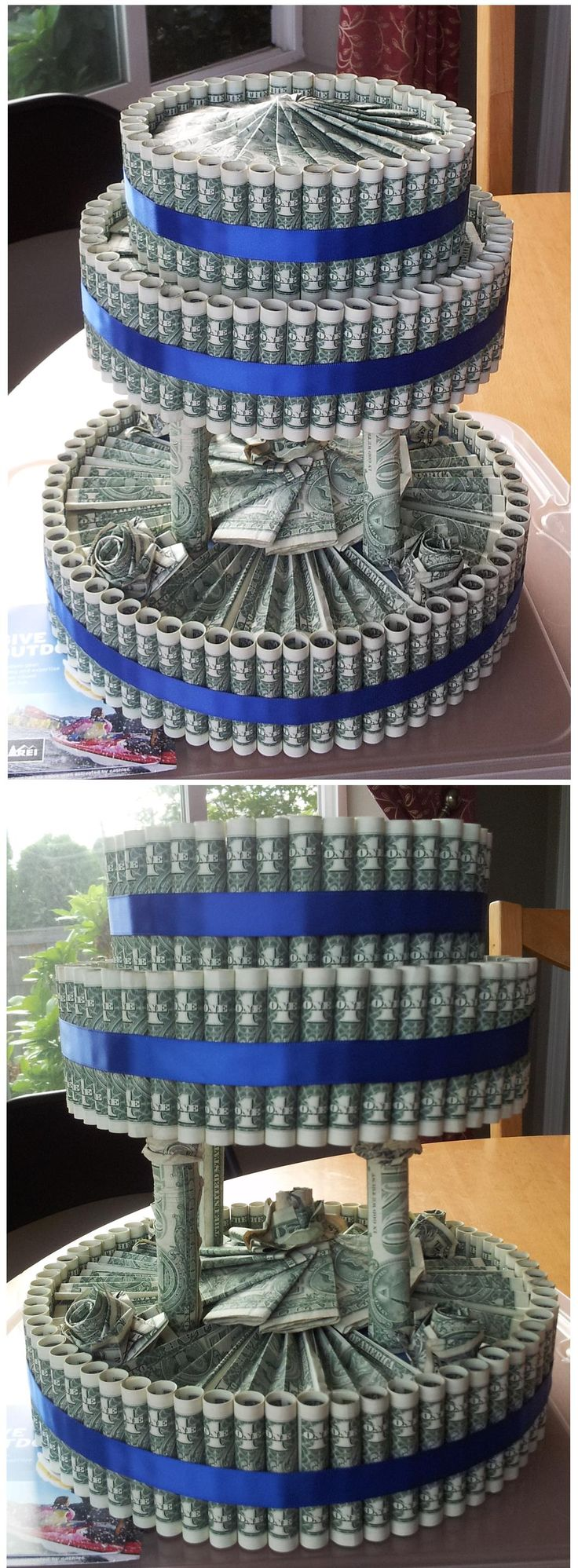 Tiered Money Cake - I made this for a friend's wedding, a classy and clever way to gift money.  I assembled the cake on the lid of a clear storage bin then inverted the bottom and closed it up to present the gift in it's own transparent 'cake dome'!