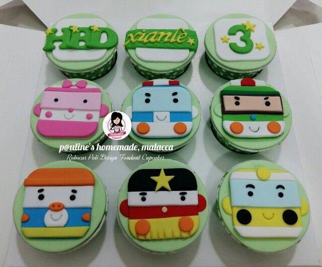 Robocar poli design fondant cupcakes fondant cupcakes for Poli design