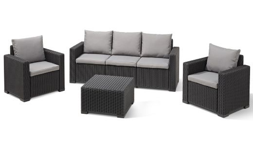 A best-seller, now in NEW Graphite colour - on trend & in demand Lounge in style and in comfort while making a bold style statement. The California Lounge Set provides seating for five adults – a three-seat sofa and two armchairs as well as a table, all with a sophisticated wicker design that is durable, UV protected and weather-resistant making for a set that's virtually maintenance-free. Comfy cushions included. http://za.keter.com/562721