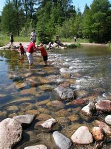 Crossing the headwaters of the Mississippi at Itasca State Park