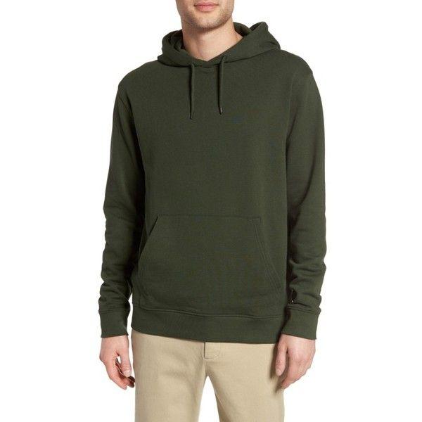 Men's Topman Jax Hoodie ($30) via Polyvore featuring men's fashion, men's clothing, men's hoodies, olive, mens sweatshirt hoodies, mens olive green hoodie, mens hoodie, mens hoodies and mens hooded sweatshirts