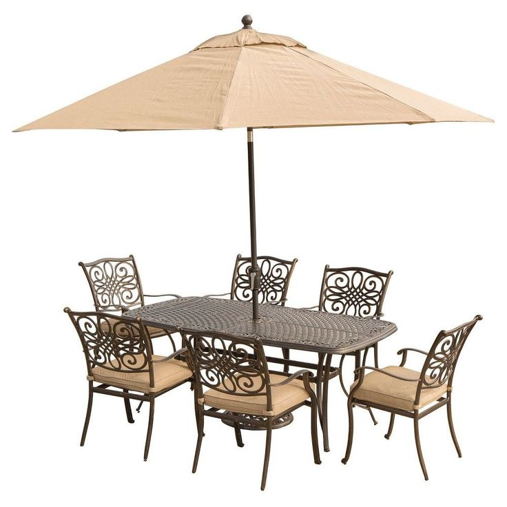 High Quality Traditions 7 Pc Dining With Cast Top Dining Table, 9u0027 Table Umbrella, And