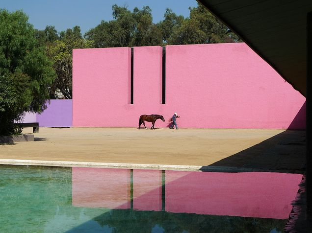 Caudra San Christobál stables, Luis Barragan, pink, water, light