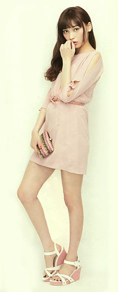 "Model / Aya Omasa. Japanese girls fashion magazine ""non-no"". girlish & cute style. Pale pink short dress. girlish sexy."