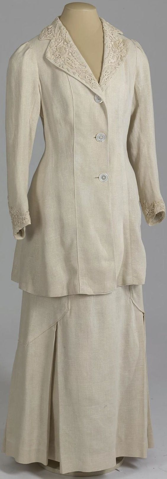 """Suit (""""Tailleur"""") belonging to Dowager Empress Maria Fyodorovna, Russia, 1910-11. Linen, cambric, soutache, mother-of-pearl. Collection of State Hermitage Museum."""