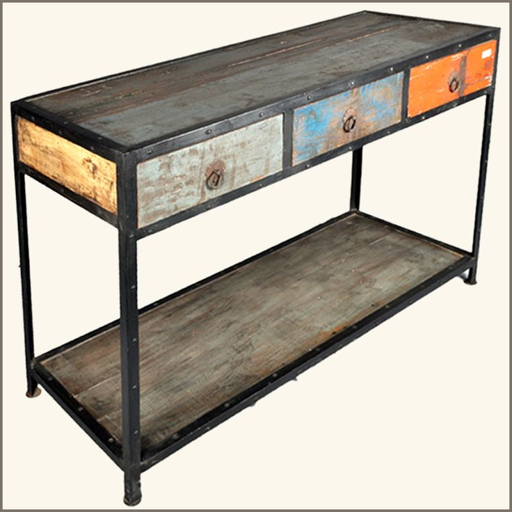 Industrial Patch Quilt 3 Drawer Old Wood Hall Console Table