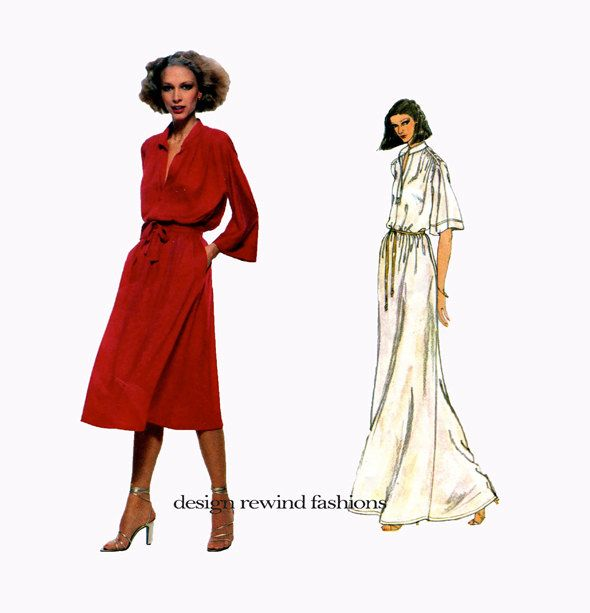 70s VOGUE DRESS PATTERN Maxi Dress Pattern Day Cocktail Dress Renata Vogue 1860 French Boutique Size 10 UNCuT Vintage Womens Sewing Patterns by DesignRewindFashions on Etsy