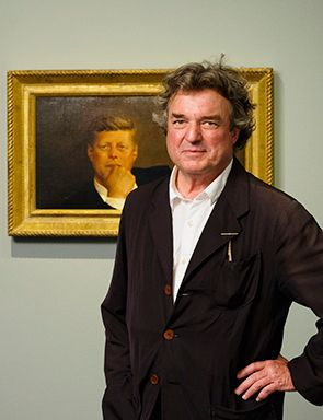 Artist Jamie Wyeth with his painting Portrait of John F. Kennedy in the Lois and Michael Torf Gallery at the Museum of Fine Arts, Boston on June 23, 2014.