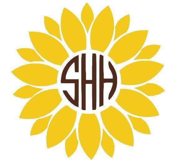 Sunflower Monogram Decal