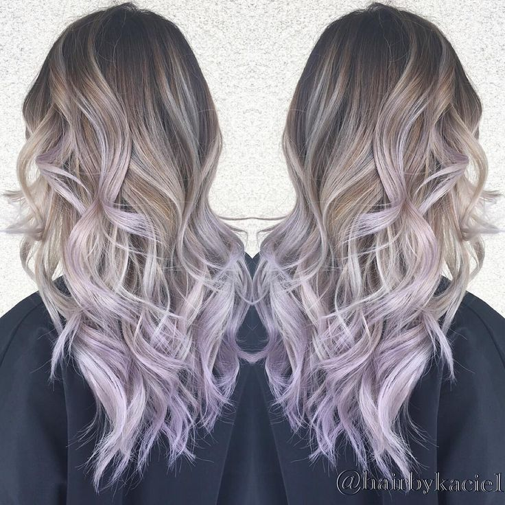 """1,014 Likes, 35 Comments - Kacie Nguyen (@hairbykacie1) on Instagram: """"We came a long way.. 3 balayage and 1 babylight later. Silver ash and lilac tips! She's super brave…"""""""