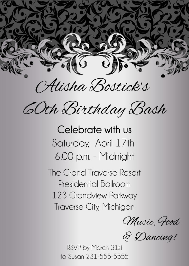 business event invitation templates%0A Silver Ornate Adult Birthday Party Invitations