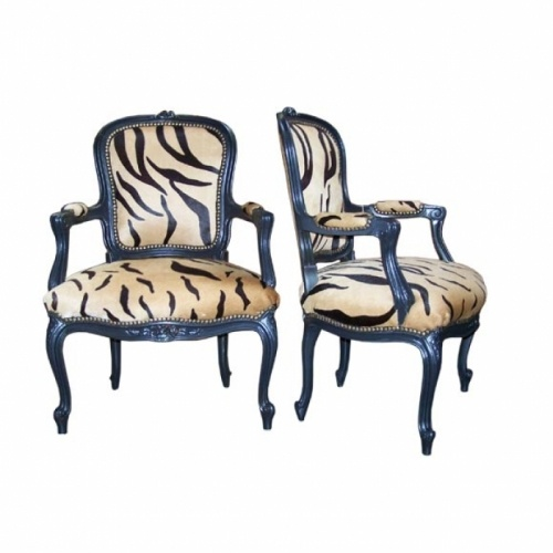 Louis XV Style Open Arm Chairs - hard to believe that animal print has been in style for so long!