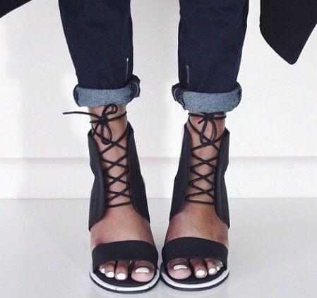 lace up black pumps.