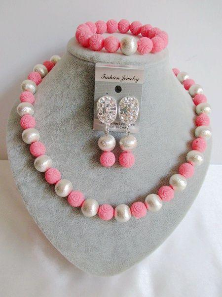 Очаровательная! розовый Серебряный Нигерии Свадьба Искусственный Коралловые Бусы Костюм Африканские Бусы Свадебные Украшения Установить ABE1331