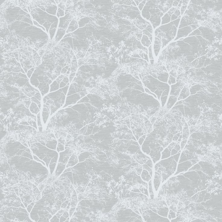 Holden Decor Whispering Trees Grey Wallpaper 65401. Whispering Trees from the Holden Decor Statement collection. A stunning textured tree design with sparkling glitter highlights, layered on a smooth metallic grey/silver background.