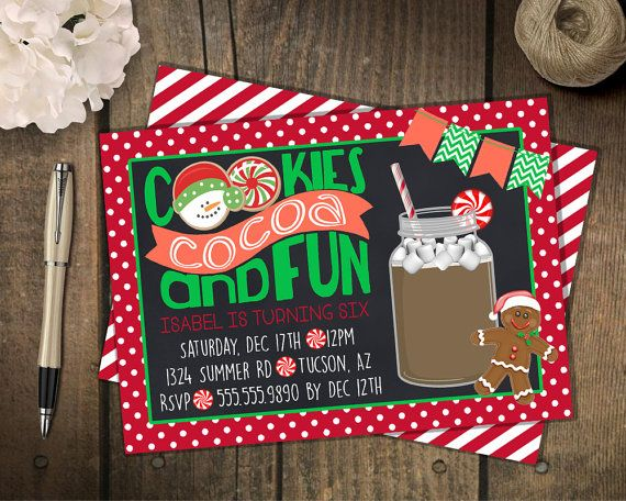 Cookie and Cocoa Christmas party invitation // Christmas Cookies and Cocoa