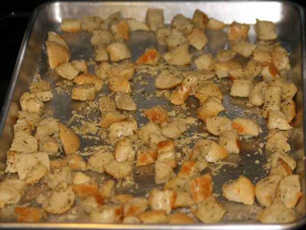 Make your own croutons using Rhodes Rolls.