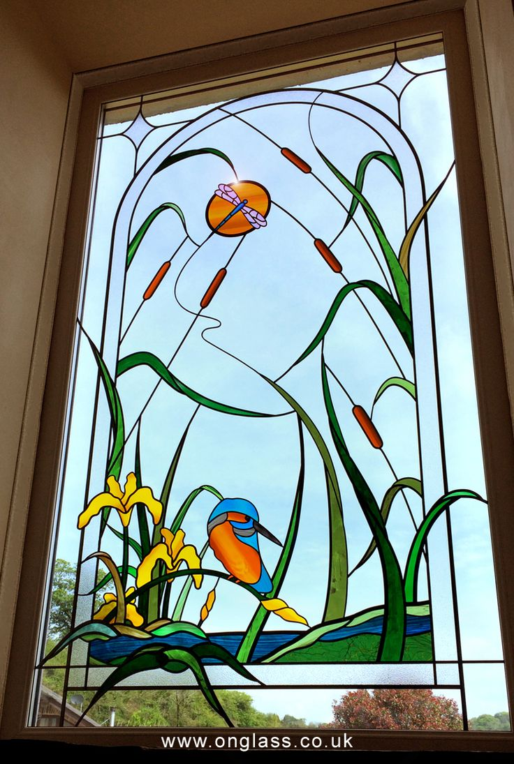 Kingfisher & Water Iris stairwell double glazed window