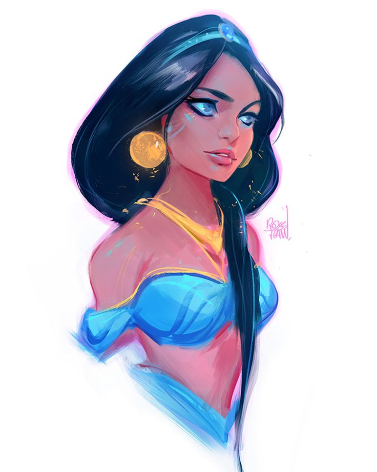 "rossdraws: "" Sketch paint to prepare for the first episode of the year! I'm finalizing my move into a new studio this week and I can't wait to start drawing and creating again. Always wanted to do Jasmine! ✨ """
