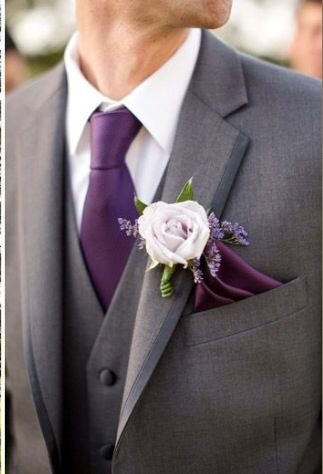 Grooms Attire In Plum And Charcoal Grey Groom Wedding