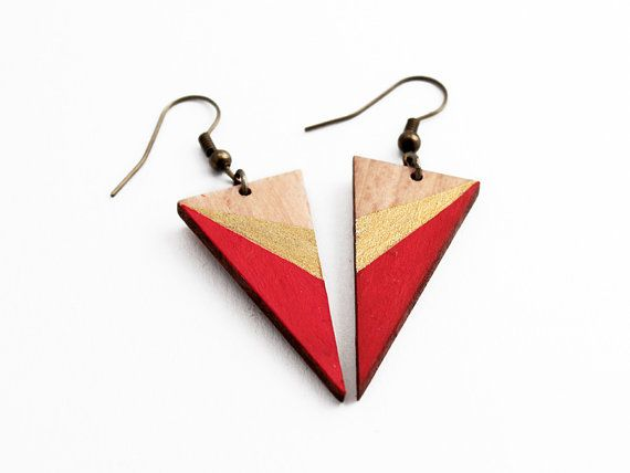 Triangle wooden earrings red gold natural wood by TheiaDesign, $22.00…