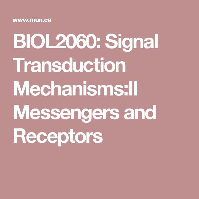 BIOL2060: Signal Transduction Mechanisms:II Messengers and Receptors