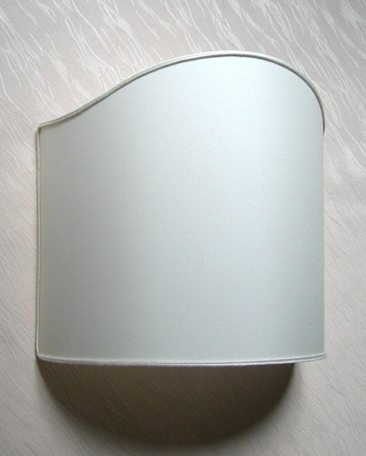 Wall Light Half Lampshade in Ivory Pongé Fabric Shield Shade Wall Lamp