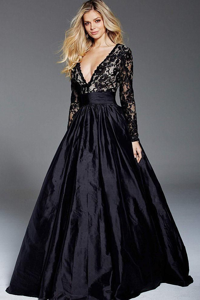 888d1616af Jovani 57756 evening gown. A scalloped-edges plunging V neckline and  slender long sleeves frame the lacy bodice. Contrasting lining details a  curvy fit ...