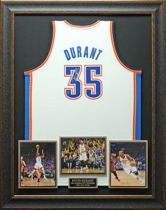 Kevin Durant Signed Oklahoma Thunder White Jersey Framed