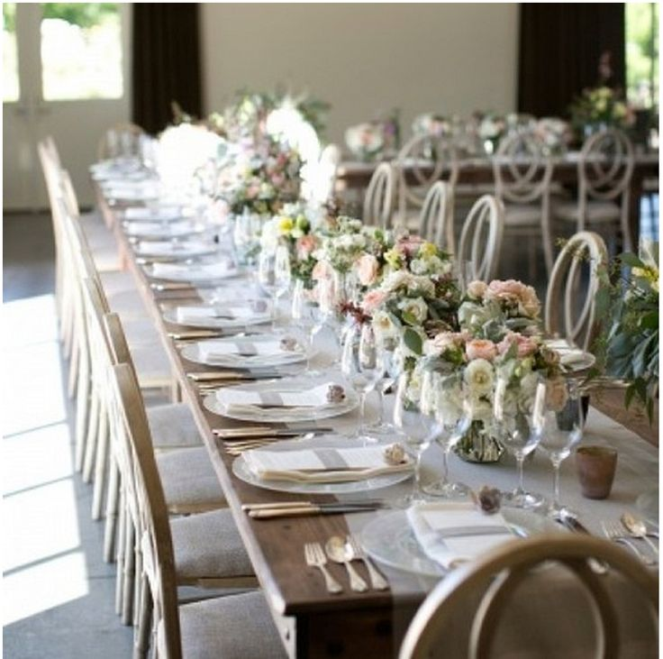 long table setup wedding reception%0A Color of wood table in contrast with floral    Reception TableWedding
