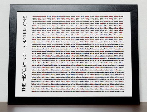Unique The History of Formula One  F1 Poster, every car, every team since the beginning of F1, available from KobeDesigns.com