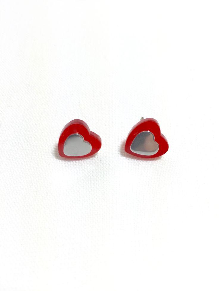 Red Mini Heart Stud Earrings