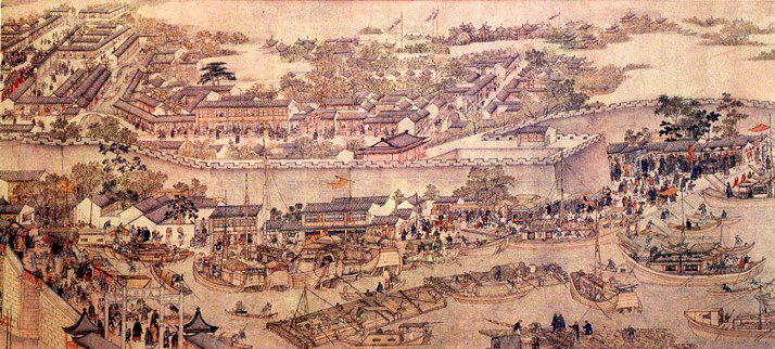 By Yang Zuo, a painter in Qing Dynasty.  The painting depicts the city of Su Zhou under the reign of Emperor Qian Long who oversaw a new era of prosperity in the early years of the dynasty.