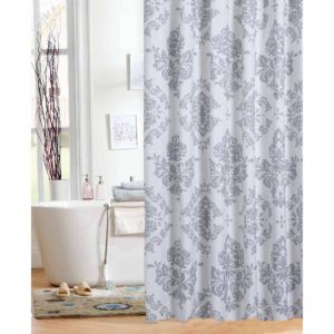 Coral Gray Shower Curtain