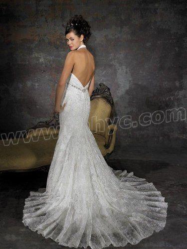 Appliques V-Neckline Mermaid Wedding Dress